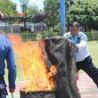 Petugas Lapas Kelas IIB Pasir Pengaraian Rohul Gelar Simulasi Pemadam Kebakaran